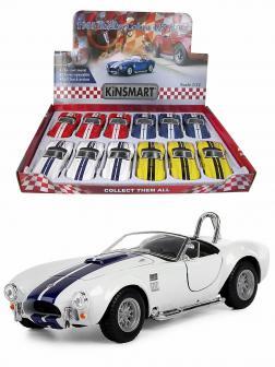 Машинка металлическая Kinsmart 1:32 «1965 Shelby Cobra 427 S/C» KT5322D инерционная / Белый