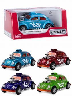 Металлическая машинка Kinsmart 1:32 «Volkswagen Beetle Custom Dragracer» KT5405W инерционная в коробке / Микс