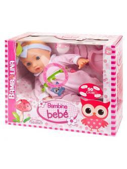 Кукла DIMIAN Bambina Bebe Пупс 42 см, с аксессуарами для кормления, звуковые эффекты