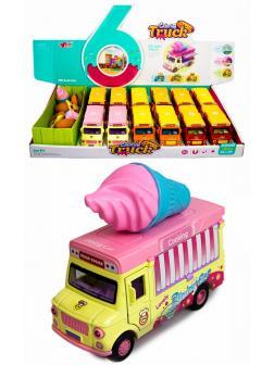 Машинка металлическая Ming Ying 66 1:36 «Кейтеринг автолавка: Мороженное» Q2298 инерционная, открывающиеся двери, свет, звук