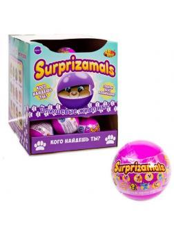 Surprizamals (Сюрпризамалс) 1-игрушка-сюрприз -плюшевые фигурки зверят в капсулах в ассортименте, диаметр капсулы 6