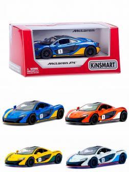Машинка металлическая Kinsmart 1:36 «McLaren P1 Exclusive Edition» KT5393WF инерционная в коробке / Микс