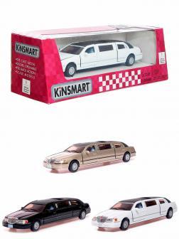 Металлическая машинка Kinsmart 1:38 «1999 Lincoln Town Car Stretch Limousine» KT7001WH в коробке / Микс