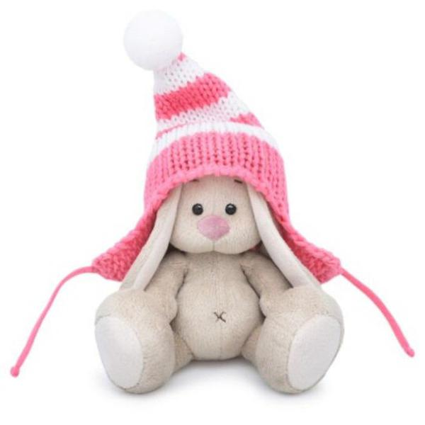 Мягкая игрушка BUDI BASA Зайка Ми в полосатой розовой шапке (малыш) 15 см