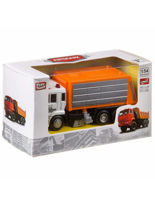 Машинка металлическая Play Smart 1:54 «Камаз: Дорожно - уборочная машина» 6515-B Автопарк / Оранжевый