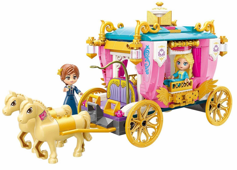 Конструктор Qman «Королевская карета» 2614 Princess Leah, 2 минифигуры / 458 деталей