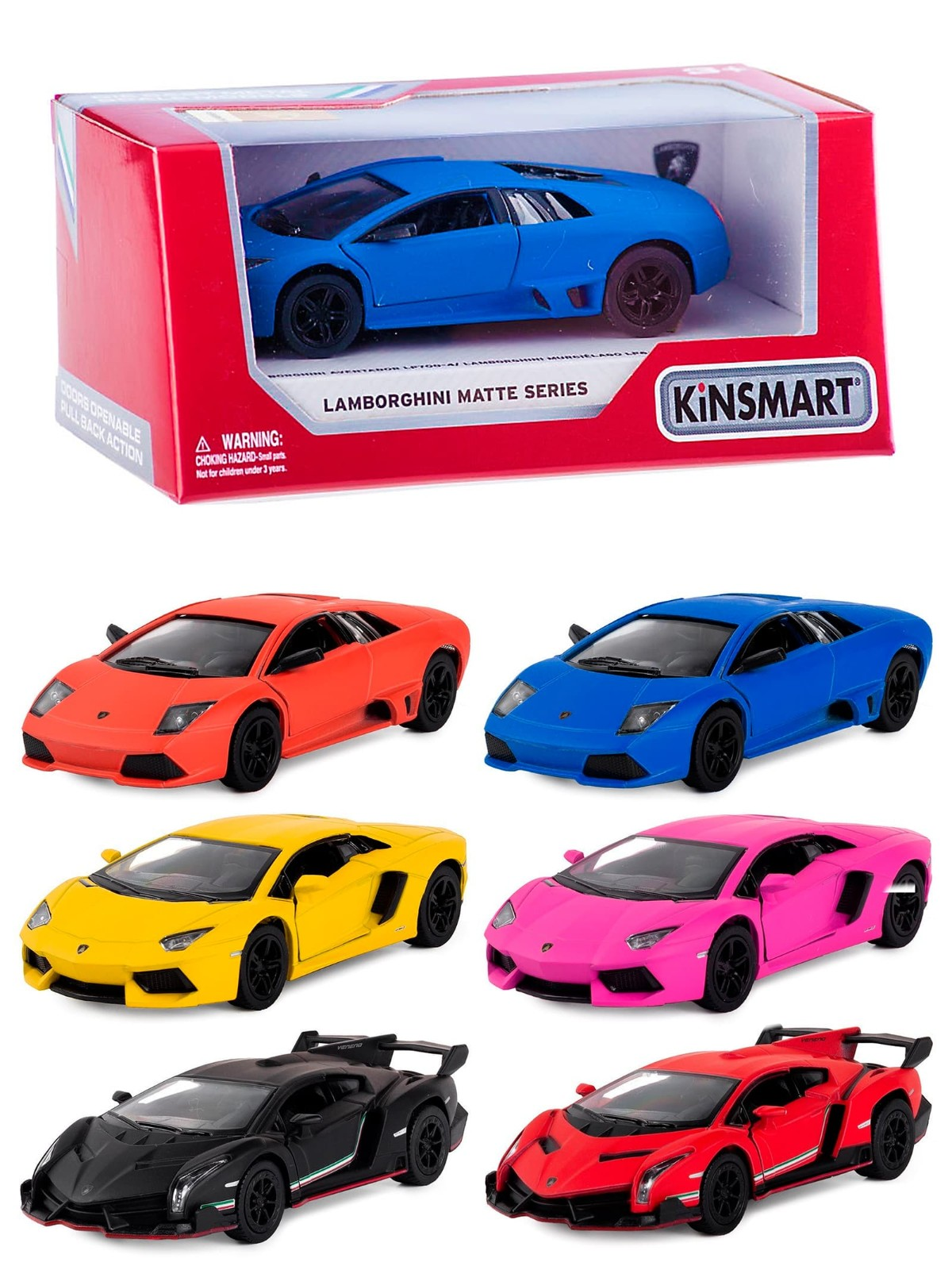 Металлическая машинка Kinsmart 1-32-36 «Matte Lamborghini»  KT5370D, инерционная в коробке / Микс