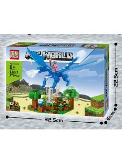 Конструктор PRCK «Нападение на голубом драконе» 63071 (Minecraft) 270 деталей