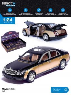 Машинка металлическая XLG 1:24 «Maybach 62s» M929H 20 см. инерционная, свет, звук / Золотой, черный