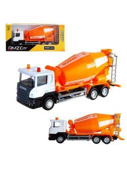 Машинка металлическая Uni-Fortune RMZ City 1:64 Бетономешалка Scania, без механизмов, цвет оранжевый, 18.8 x 5.17 x 9 см
