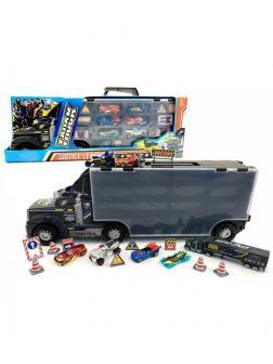 Детский набор - Трейлер «Truck» с машинками и дорожными знаками А7513-К3