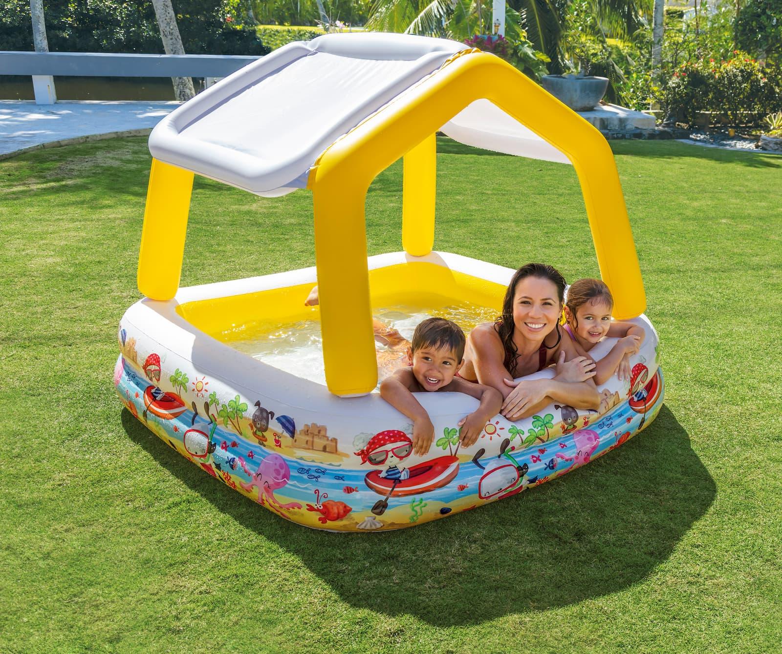 Бассейн надувной детский «Домик», 157 х 157 х 122 см, с навесом, 57470NP Intex