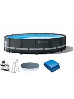 Каркасный бассейн Ultra XTR Frame 488х122см, 19156л, песч.фил.-нас. 4500л\ч, лестница, тент, подст.
