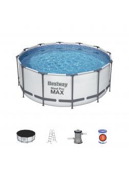 Каркасный бассейн Steel Pro Max 366х122см, 10250л, фил.-насос 2006л/ч, лестница, тент
