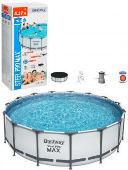 Круглый каркасный бассейн BestWay «Steel Pro Max» 56438 457х122см, фильтр-насос 3028л/ч, лестница, тент