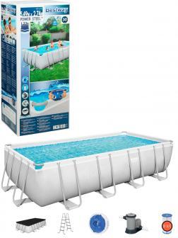 Прямоугольный каркасный бассейн BestWay «Power Steel» 56465 549х274х122см, фильтр-насос, лестница, тент