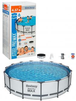 Круглый каркасный бассейн BestWay «Steel Pro Max» 56488 457х107см, фильтр-насос, лестница, тент