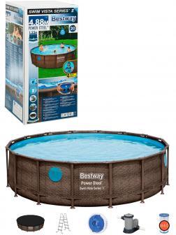 Круглый каркасный бассейн BestWay «Power Steel» 56725 488х122см, фильтр-насос, лестница, тент