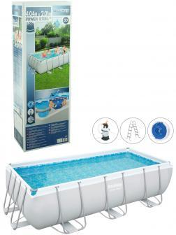 Прямоугольный каркасный бассейн BestWay «Power Steel» 56442 404х201х100см, фильтр-насос, лестница, тент