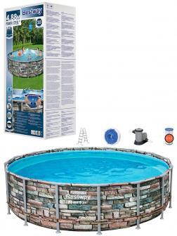 Круглый каркасный бассейн BestWay «Power Steel» 56966 488x122см, фильтр-насос, лестница, тент