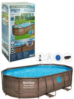 Овальный каркасный бассейн  BestWay «Power Steel» 56946  488х305х107см, песчаный фильтр-насос, тент, лестница