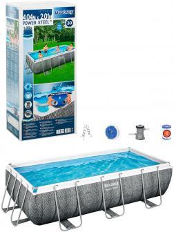 Прямоугольный каркасный бассейн BestWay «Power Steel» 56721 404х201х100см, фильтр-насос, лестница