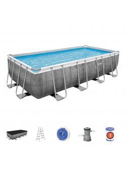 Каркасный бассейн Power Steel 488х244х122см, 11532л, фил.-насос 3028л/ч, лестница, тент, попл.-доз.