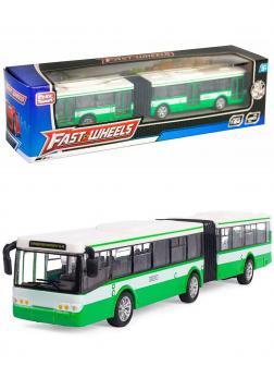 Инерционный автобус-гармошка Play Smart 1:64 «ЛиАЗ-6213» 18 см. 6576 Автопарк / Зеленый