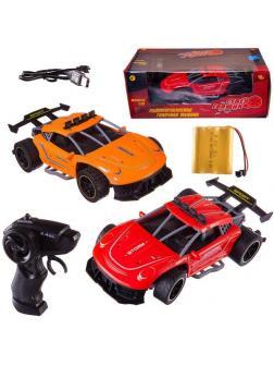 Машинка на радиоуправлении Abtoys гоночная 2,4Ггц, резиновые колеса (красная, оранжевая), аккумуляторный блок 1:18
