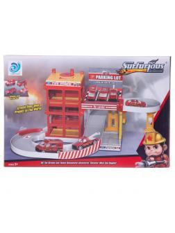 Парковка-трек Junfa Пожарная станция с лифтом и машинкой