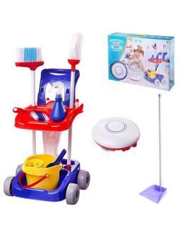 Игровой набор ABtoys Помогаю маме Генеральная уборка Тележка, робот-пылесос и аксессуары