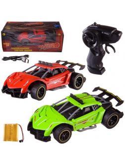 Машинка на радиоуправлении Abtoys гоночная 2,4Ггц, резиновые колеса (зеленый, красный), аккумуляторный блок 1:18