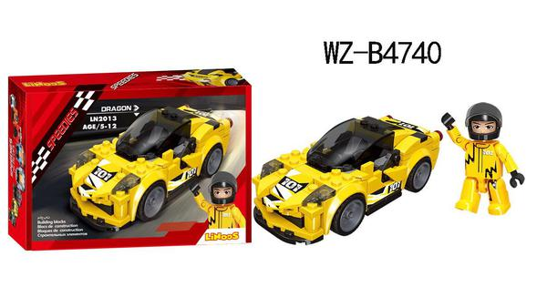 Конструктор Junfa Linoos Гоночная машина Дракон(желтый), 164 деталей, резиновые колеса, фигурка пилота