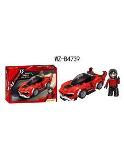 Конструктор Junfa Linoos Гоночная машина Взрыв(красный), 170 деталей, резиновые колеса, фигурка пилота