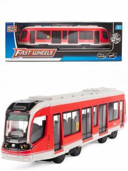 Инерционный трамвай Play Smart 1:50 «Трамвай современный City Star» 17,5 см. 6583W в коробке / Красный