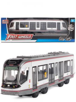 Инерционный трамвай Play Smart 1:50 «Трамвай современный City Star» 17,5 см. 6583W в коробке / Серый