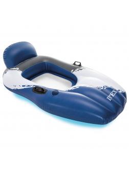 Надувной матрас-шезлонг для плавания 163х104см, с ручками и подстаканником, до 100кг