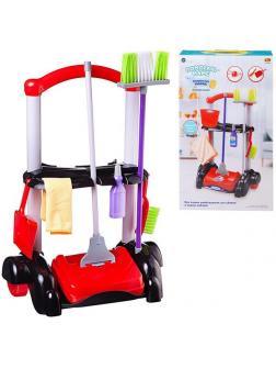 Игровой набор ABtoys Помогаю маме Генеральная уборка Тележка, механическая щетка для пола и 5 предметов