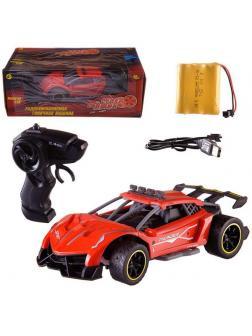 Машинка на радиоуправлении Abtoys гоночная 2,4Ггц, резиновые колеса, аккумуляторный блок, красная-2 1:18