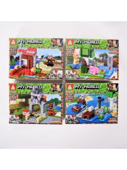Конструктор 666 4в1 «В шахте Крипера» 66060 (Minecraft) комплект 4 шт.