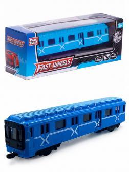 Металлический вагон Метро Play Smart 1:43-50 6584W (с открывающейся дверью) в коробке / Голубой