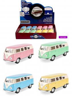 Металлическая машинка Kinsmart 1:32 «1962 Volkswagen Classical Bus (Пастельные цвета)» KT5060DY инерционная / Микс