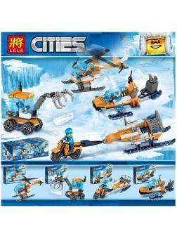 Набор Ll Сити «Арктическая экспедиция» 28029 (Совместимый с ЛЕГО), 4 фигурки с транспортом
