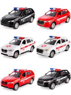 Металлическая машинка Model World 1:36 «BMW X5 / Audi Q7» HT44-10A свет и звук, инерционная / Микс