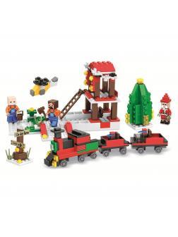 Конструктор Jemlou «Новогодняя железнодорожная станция» 20069 (Minecraft) 335 деталей