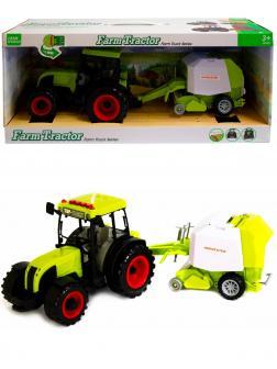 Машинка пластиковая Farm Tractor «Трактор сельскохозяйственным с прицепом» 6144Е, свет, звук / Зеленый