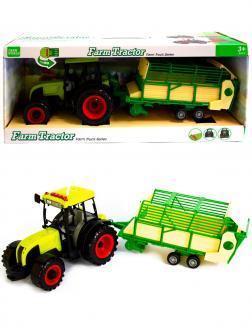 Машинка пластиковая Farm Tractor «Трактор сельскохозяйственным с прицепом» 1188Е-4, свет, звук / Зеленый