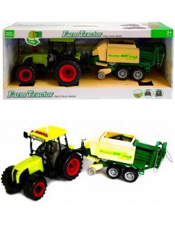 Машинка пластиковая Farm Tractor «Трактор сельскохозяйственным с прицепом» 5111Е, свет, звук / Зеленый