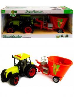Машинка пластиковая Farm Tractor «Трактор сельскохозяйственным с прицепом» 5122E, 52 см., свет, звук / Красно-зеленый