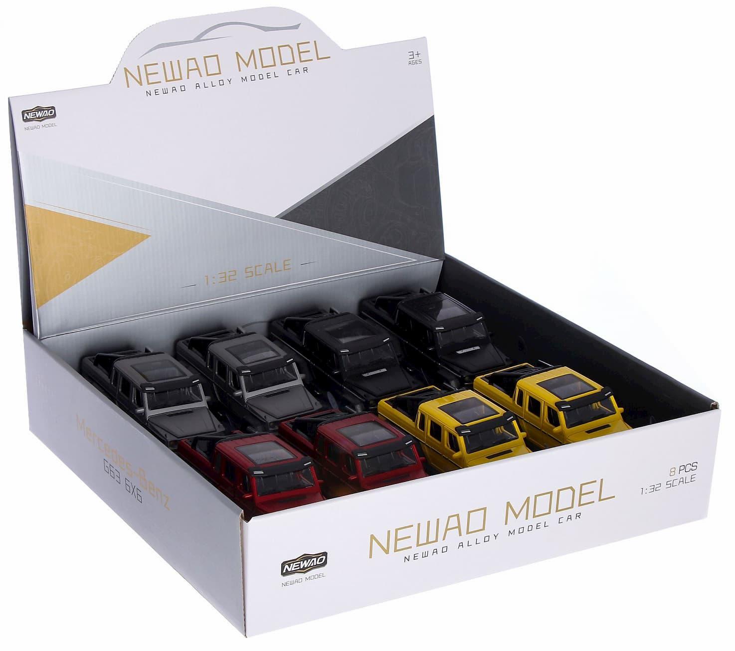 Металлическая машинка Newao Model 1:32 «Mercedes-Benz G-class 6х6» XA3210B инерционная, свет, звук / Микс